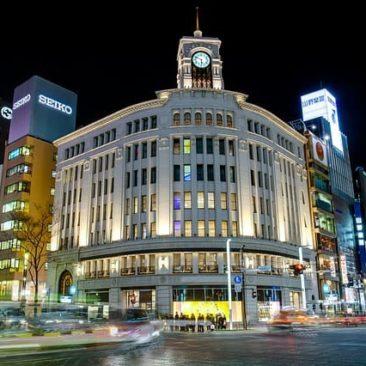 Tokios Designer und Shoppingviertel Ginza bei Nacht